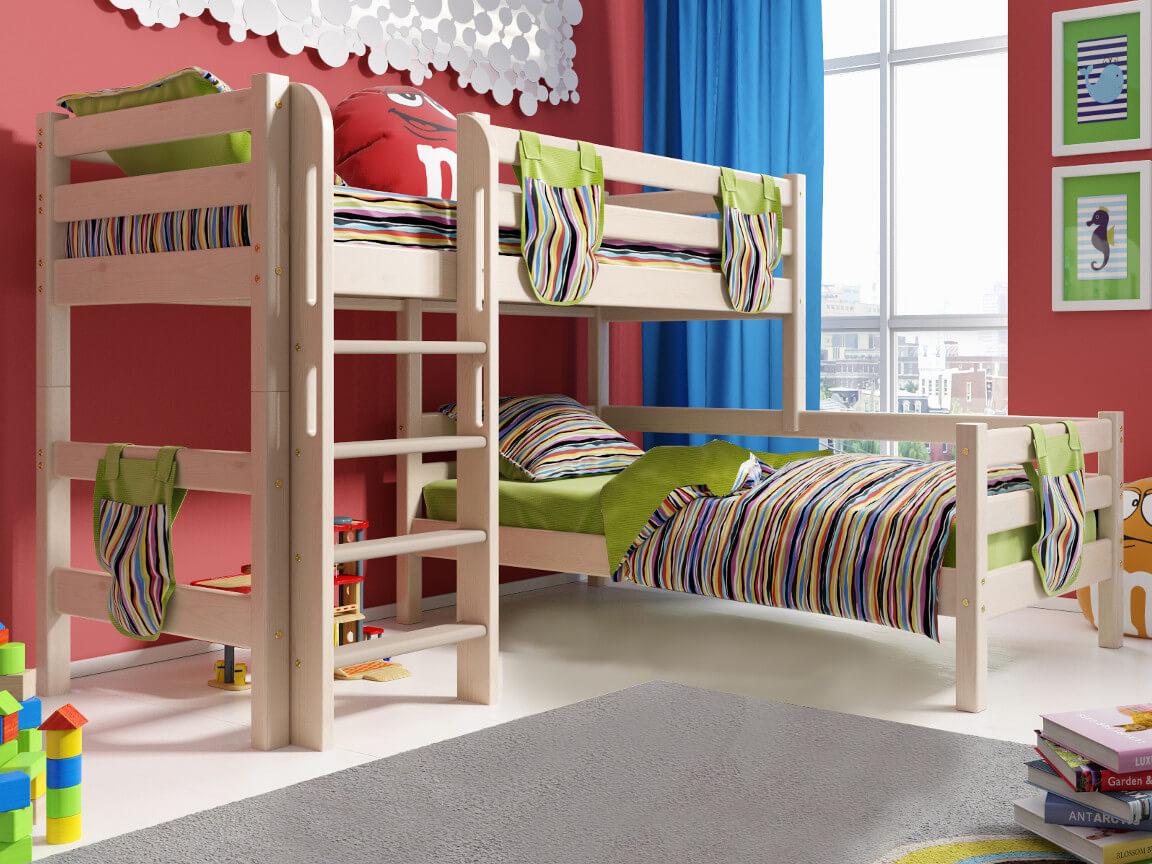 фото Угловая кровать Соня с прямой лестницей No 7