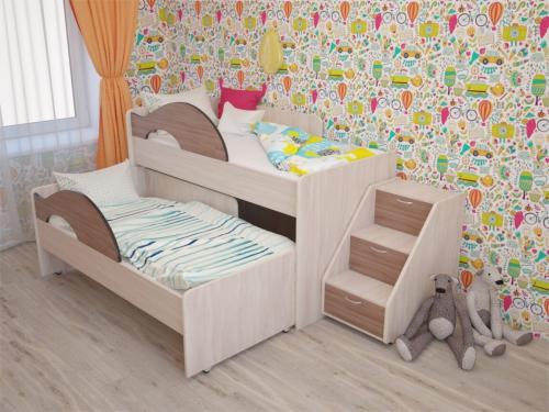 Кровать выкатная Матрешка с лесенкой