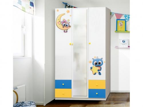 Шкаф 3-х дверный с ящиками и зеркалом Совята 3-2