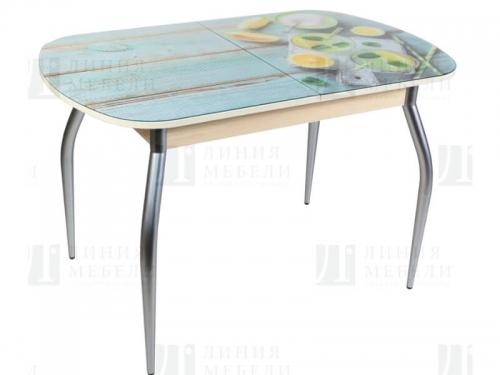 Стол обеденный со стеклом Голд c фотопечатью