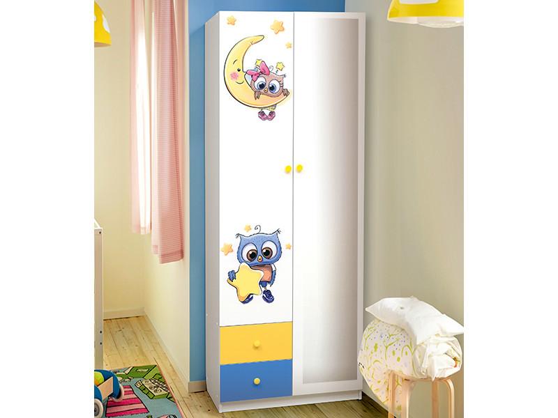 фото Шкаф 2-х дверный с ящиками и зеркалом Совята 2.1