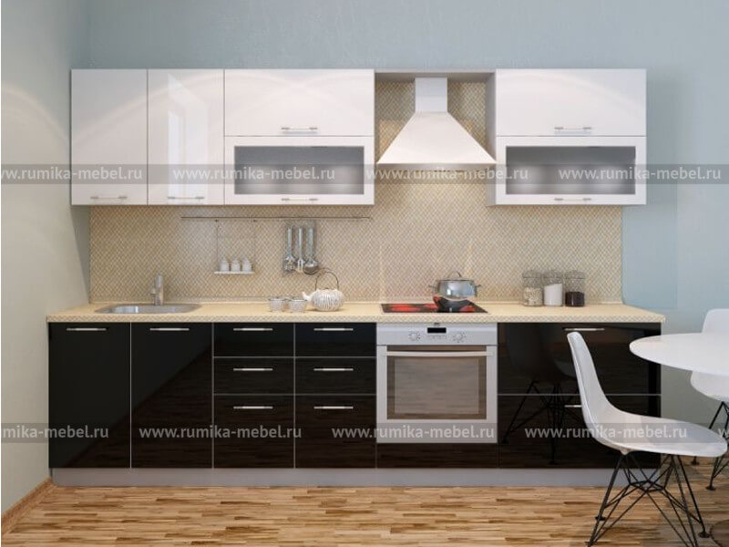 фото Кухня Фантазия глянец черный-белый