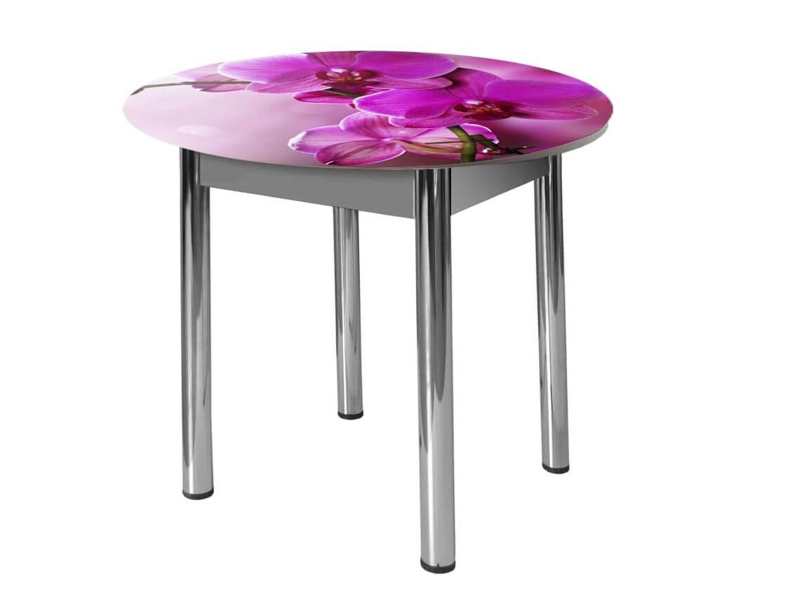 фото Стол круглый Форт Орхидея за стеклом
