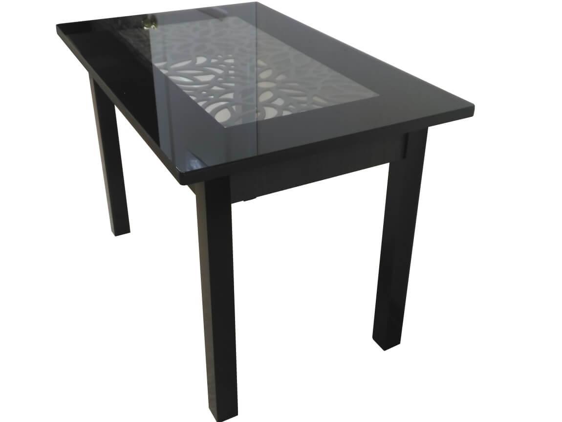 фото Стол Ажурный венге черный под стеклом