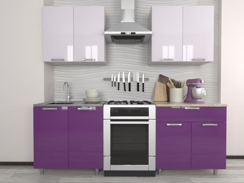 фото Кухня Умница Белый-Виолетта МДФ