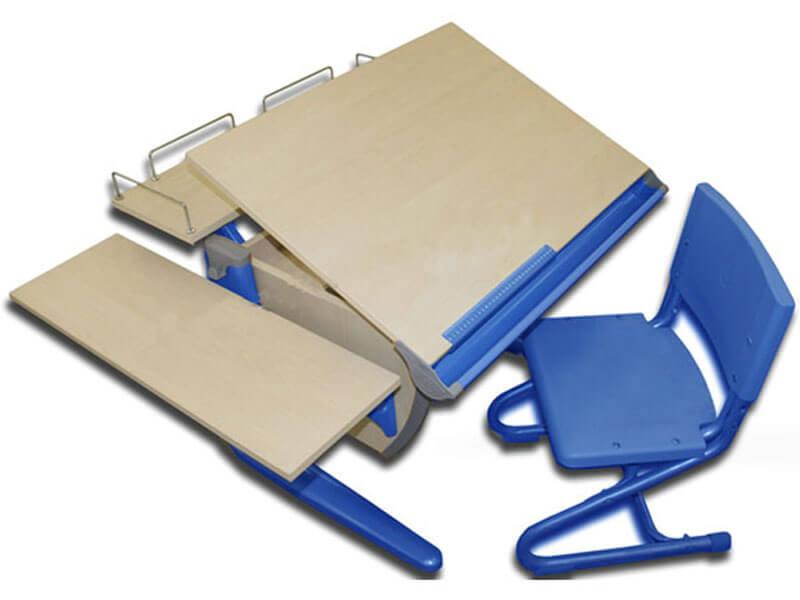 фото Парта Дэми СУТ-14-02 с задней и боковой полкой синяя