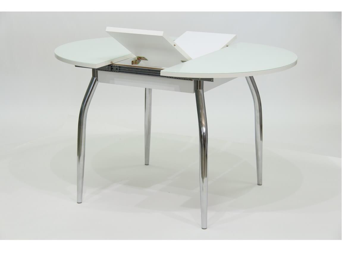 фото Стол круглый раздвижной со стеклом Гала 3 белый
