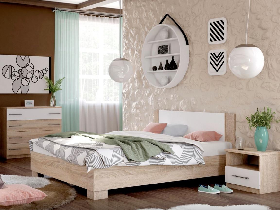 фото Спальня Аврора дуб сонома-белый