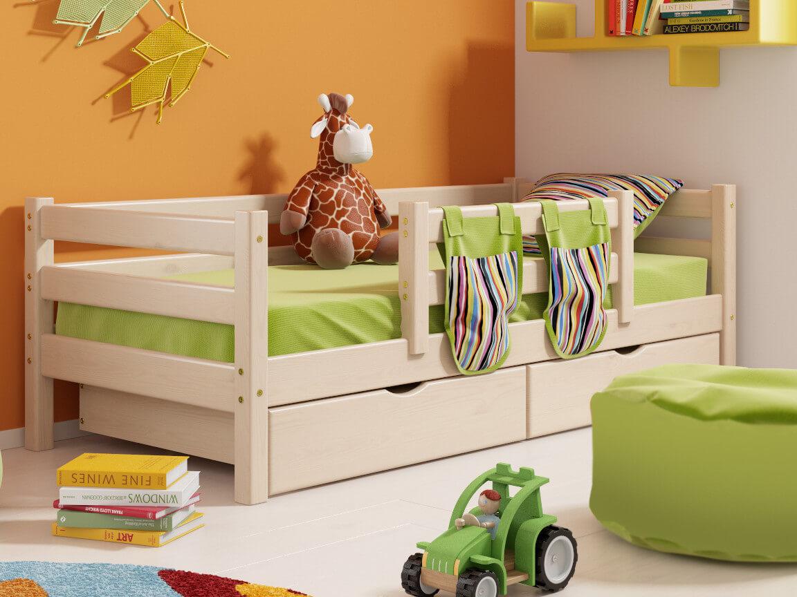 фото Кровать Соня с защитой по центру и ящиками No 4