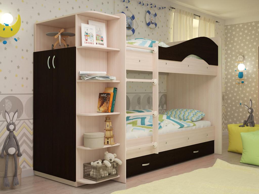 фото Кровать двухъярусная Мая со шкафом