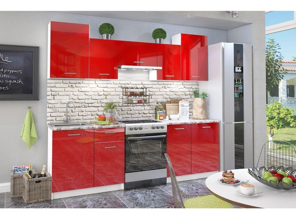 фото Кухонный гарнитур Бланка глянец красный