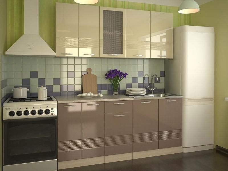 фото Кухонный гарнитур Волна ваниль глянец капучино 1800