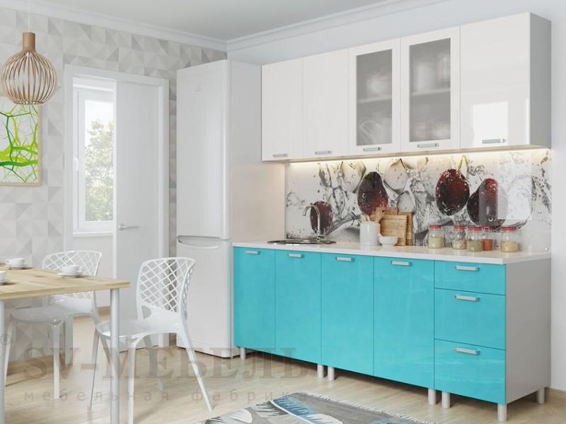 фото Кухня Модерн Бирюза Металлик - Белый