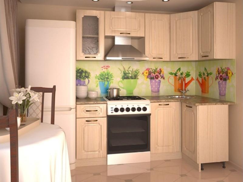 фото Кухонный гарнитур угловой Грецкий орех 2000х1100