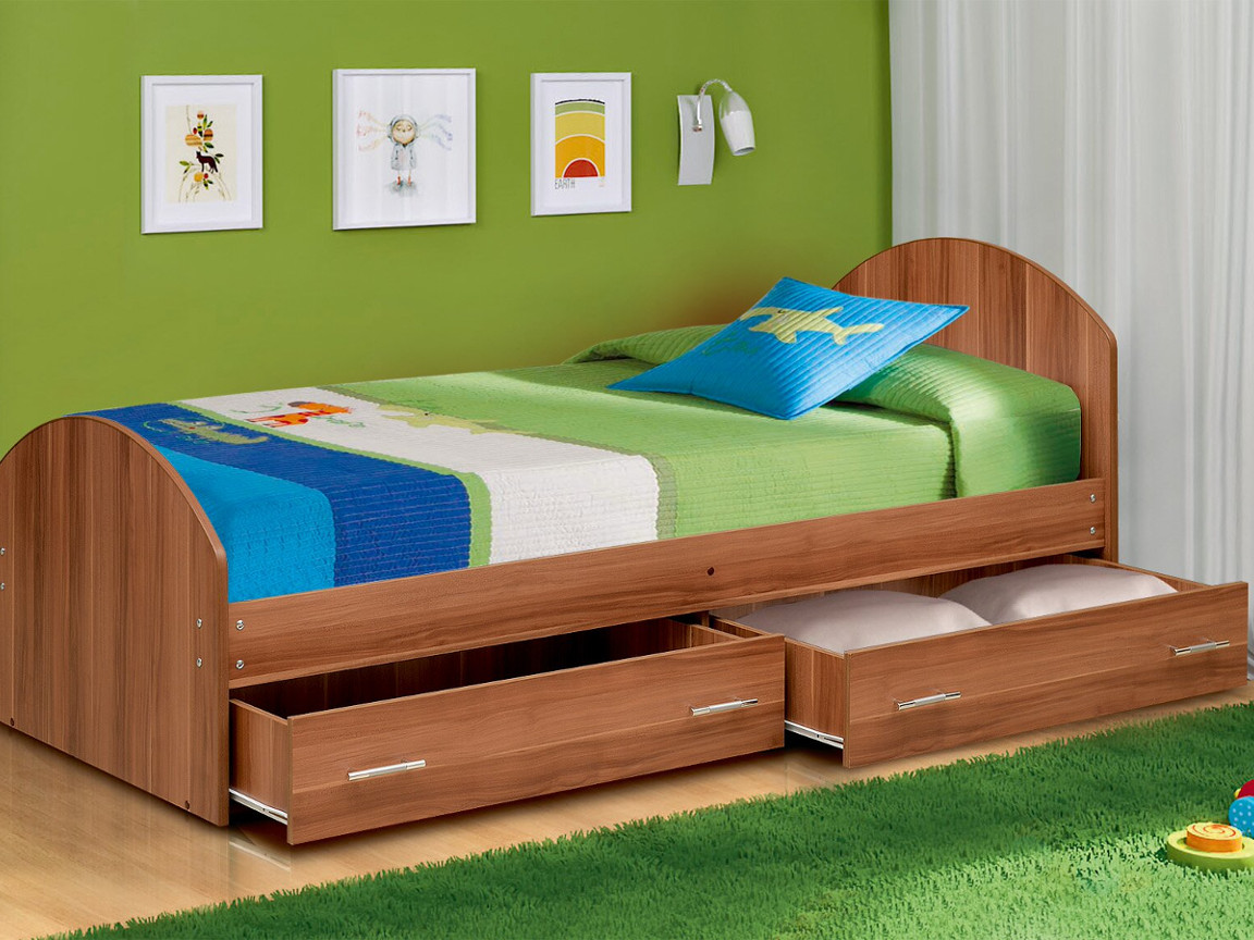 фото Кровать одинарная на уголках No 2 с ящиками Матрица