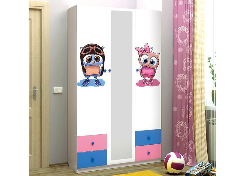 фото Шкаф 3-х дверный с ящиками и зеркалом Совята 3-1