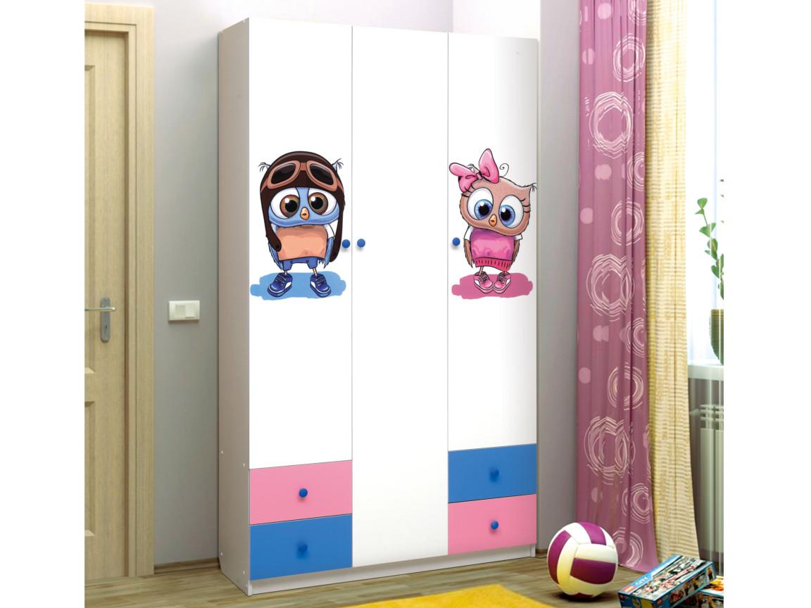 фото Шкаф 3-х дверный с ящиками Совята 3-1