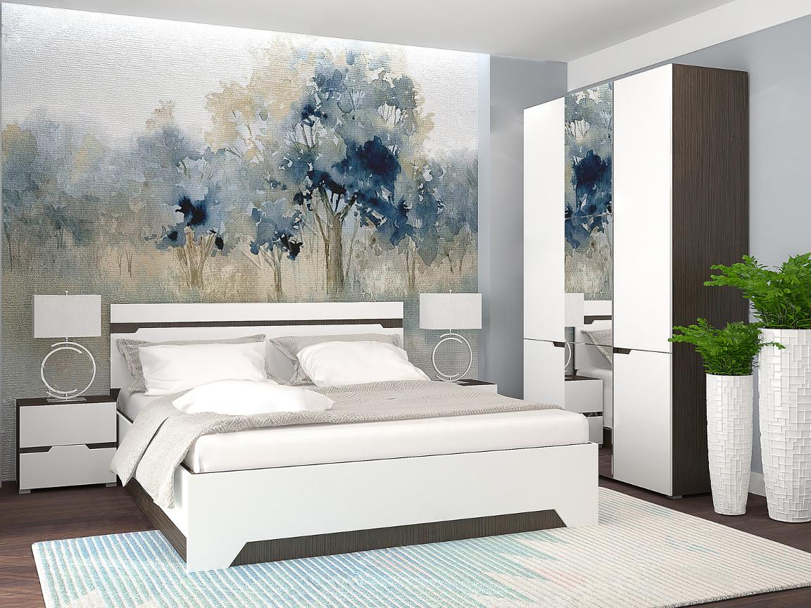 фото Спальня с 3-х створчатым шкафом Анталия Венге-Белый софт