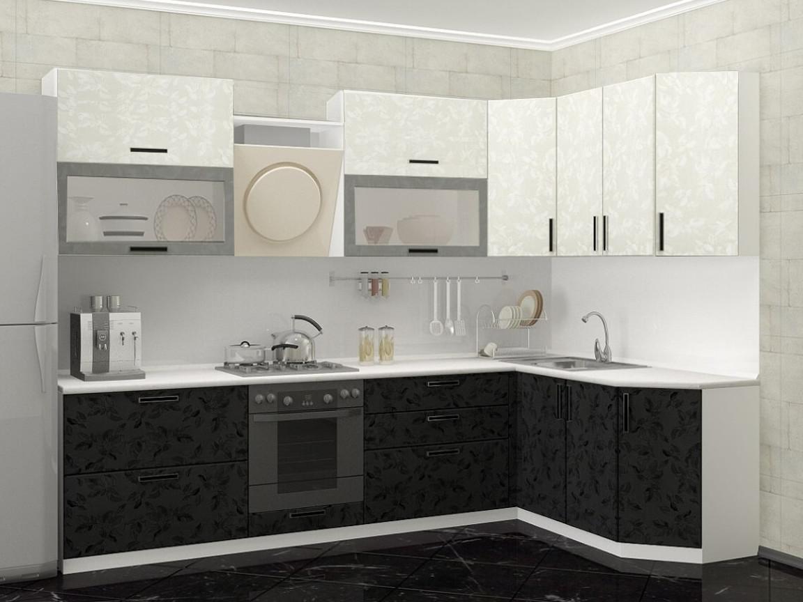 фото Модульная кухня Комфорт черно-белые цветы