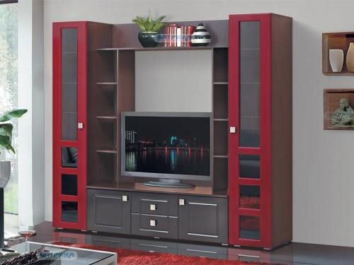 Гостиная Грация 7 Красный глянец-Черный глянец