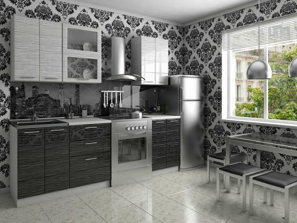 фото Кухня Соло черный-белый дождь 1800
