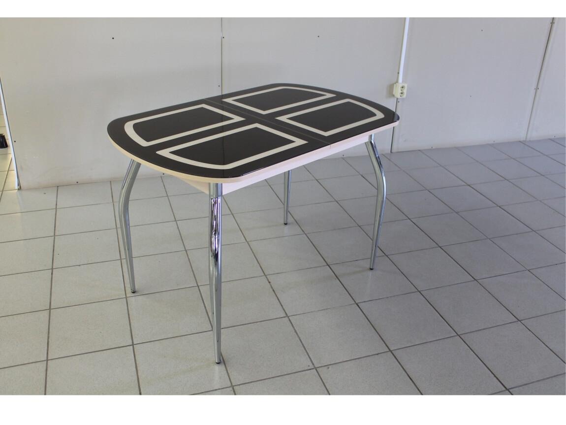фото Раскладной стол со стеклом Голд коричнево-бежевый