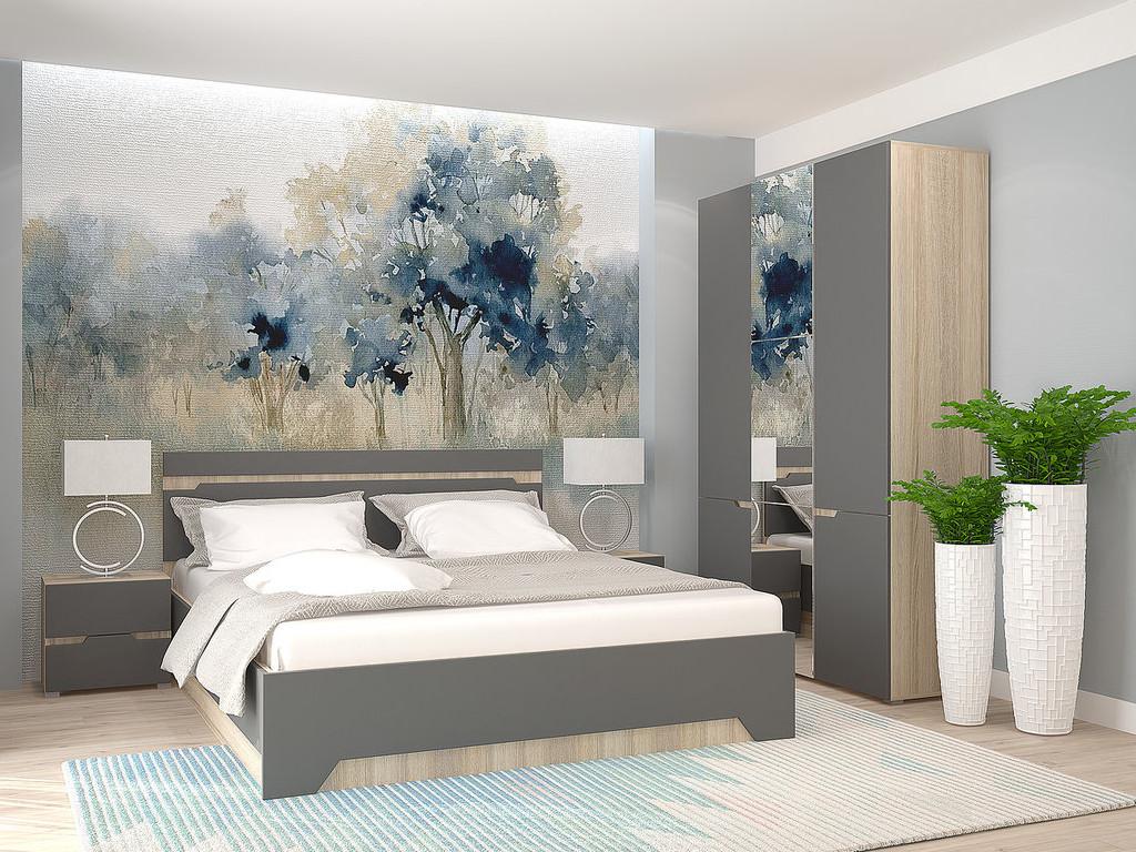 фото Спальня с 3-х створчатым шкафом Анталия Сонома-Графит софт