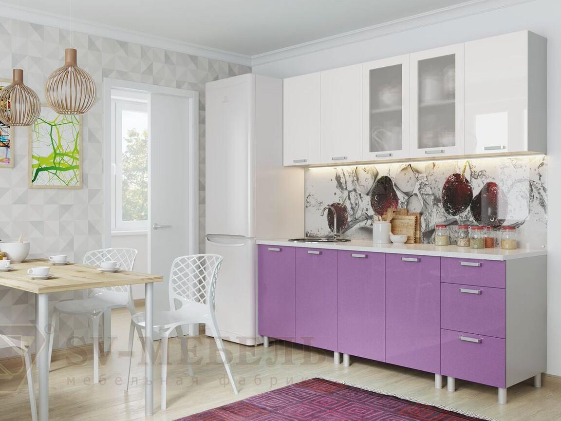фото Кухня Модерн Фиолетовый Металлик - Белый