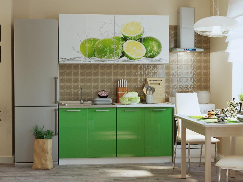 фото Кухонный гарнитур Риал К-33-зеленый 1600