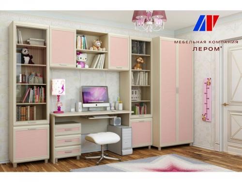 Детская Ксюша Дуб Беленый с розовыми вставками
