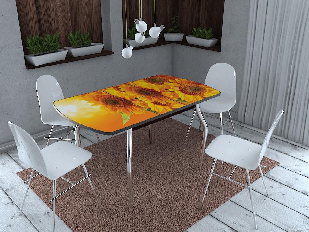 фото Стол раздвижной со стеклом Грация Подсолнухи