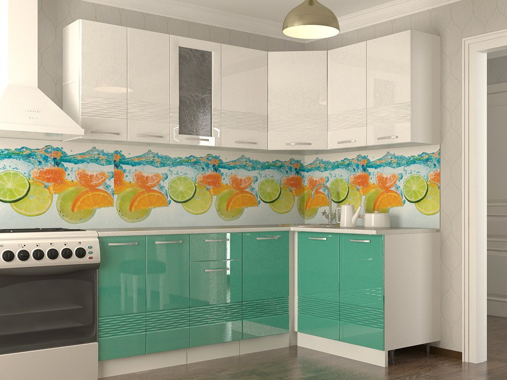 фото Кухонный гарнитур Волна белый металлик бирюза 2000х1400