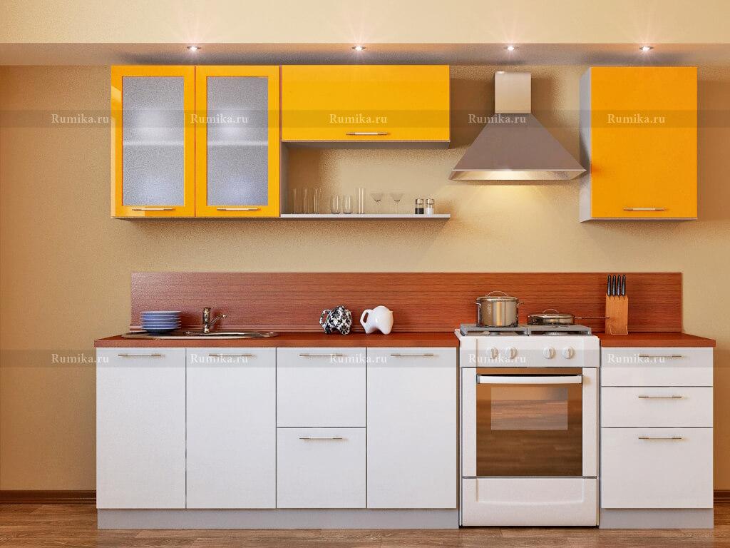 фото Кухня Фантазия глянец белый-елоу ривер