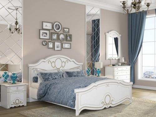 Спальня Барбара белый-патина золото