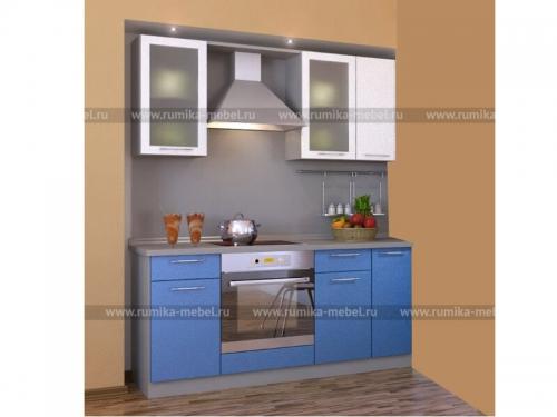 Кухня Фантазия металлик синий-белый