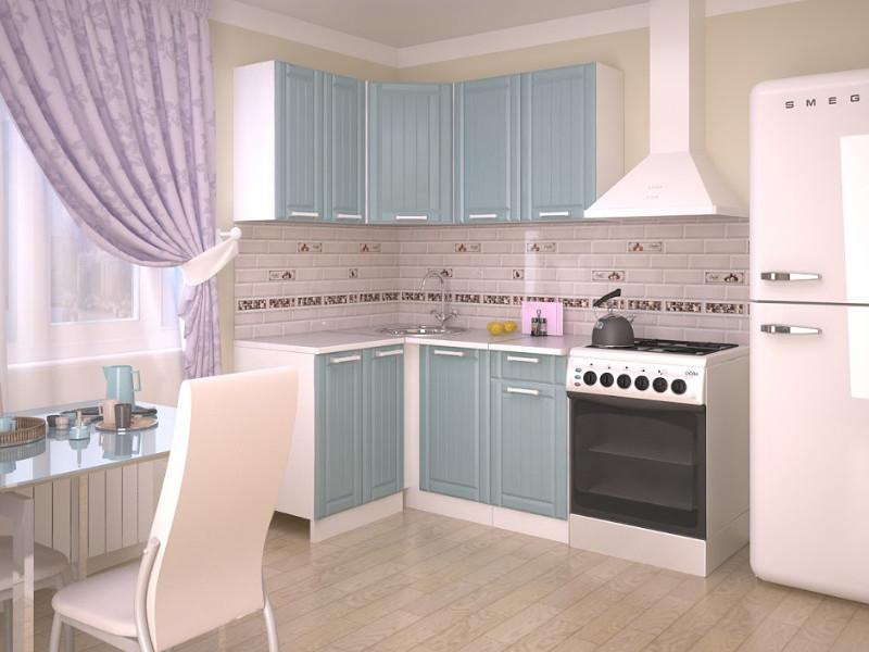 фото Кухонный гарнитур угловой Прованс Роялвуд голубой 1200х1400