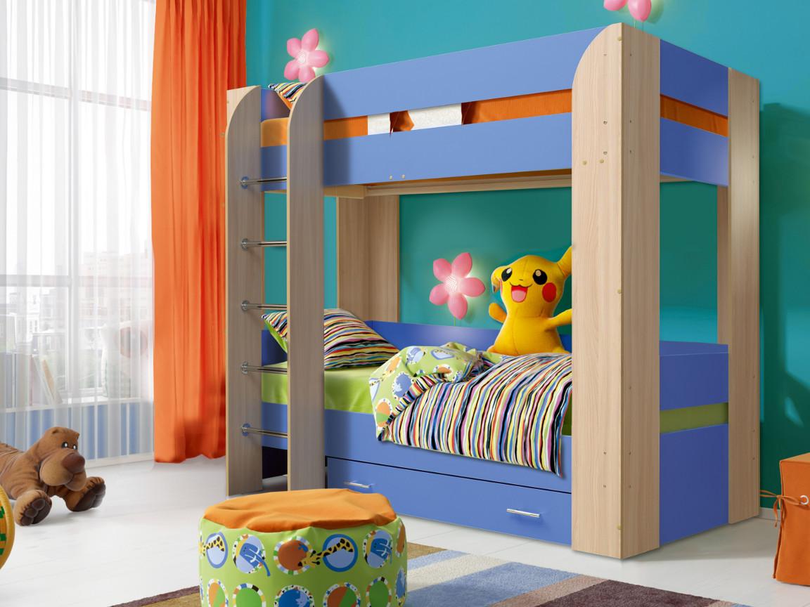 фото Кровать детская двухъярусная Юниор-6 с ящиком