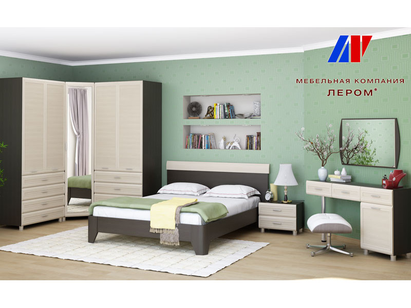 фото Спальня Мелисса Дуб Венге-Дуб Беленый