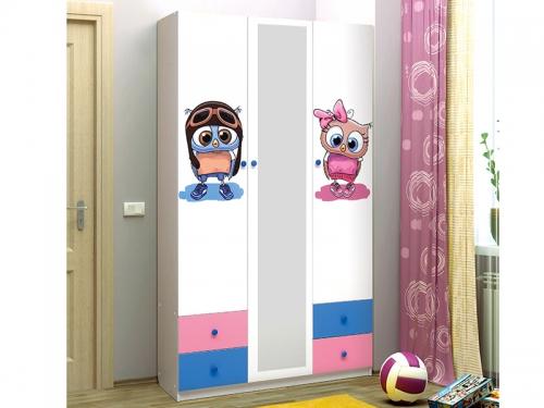 Шкаф 3-х дверный с ящиками и зеркалом Совята 3-1