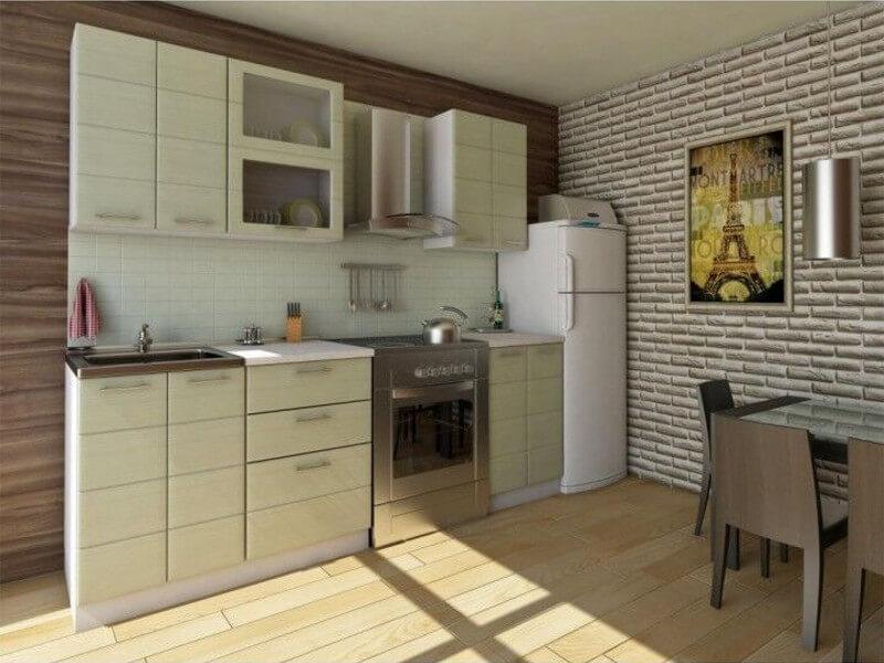 фото Кухня Соло МДФ зеленая полоса