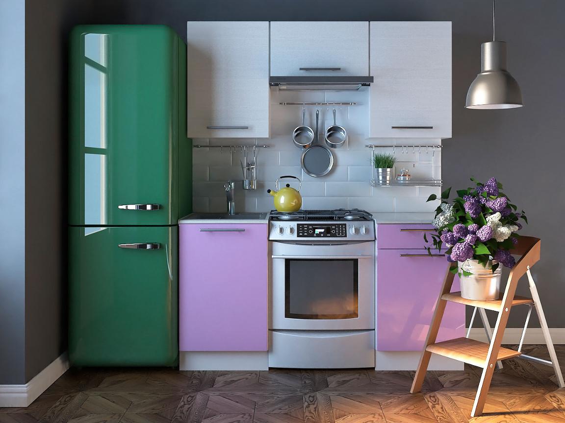 фото Кухня Комфорт Выбеленное дерево-Фиолетовый