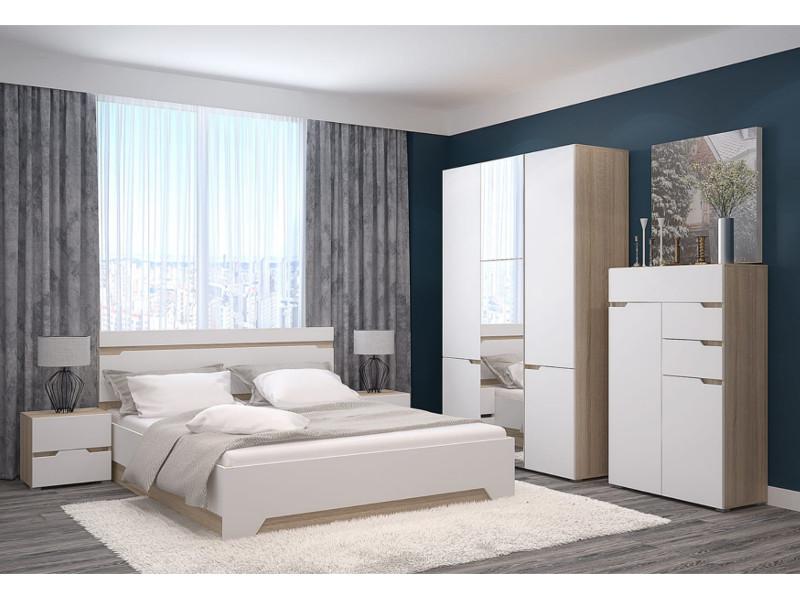 фото  Спальня с 3-х створчатым шкафом и комодом Анталия Венге-Белый софт