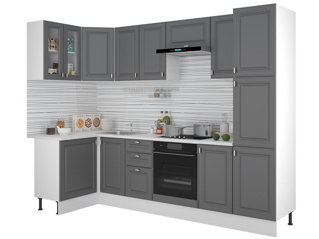 фото Кухонный гарнитур Ева угловой с пеналом Графит