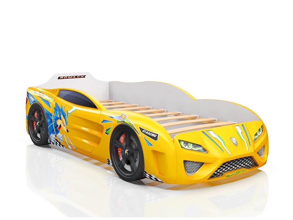 фото Кровать-машина Dreamer Ёжик жёлтая