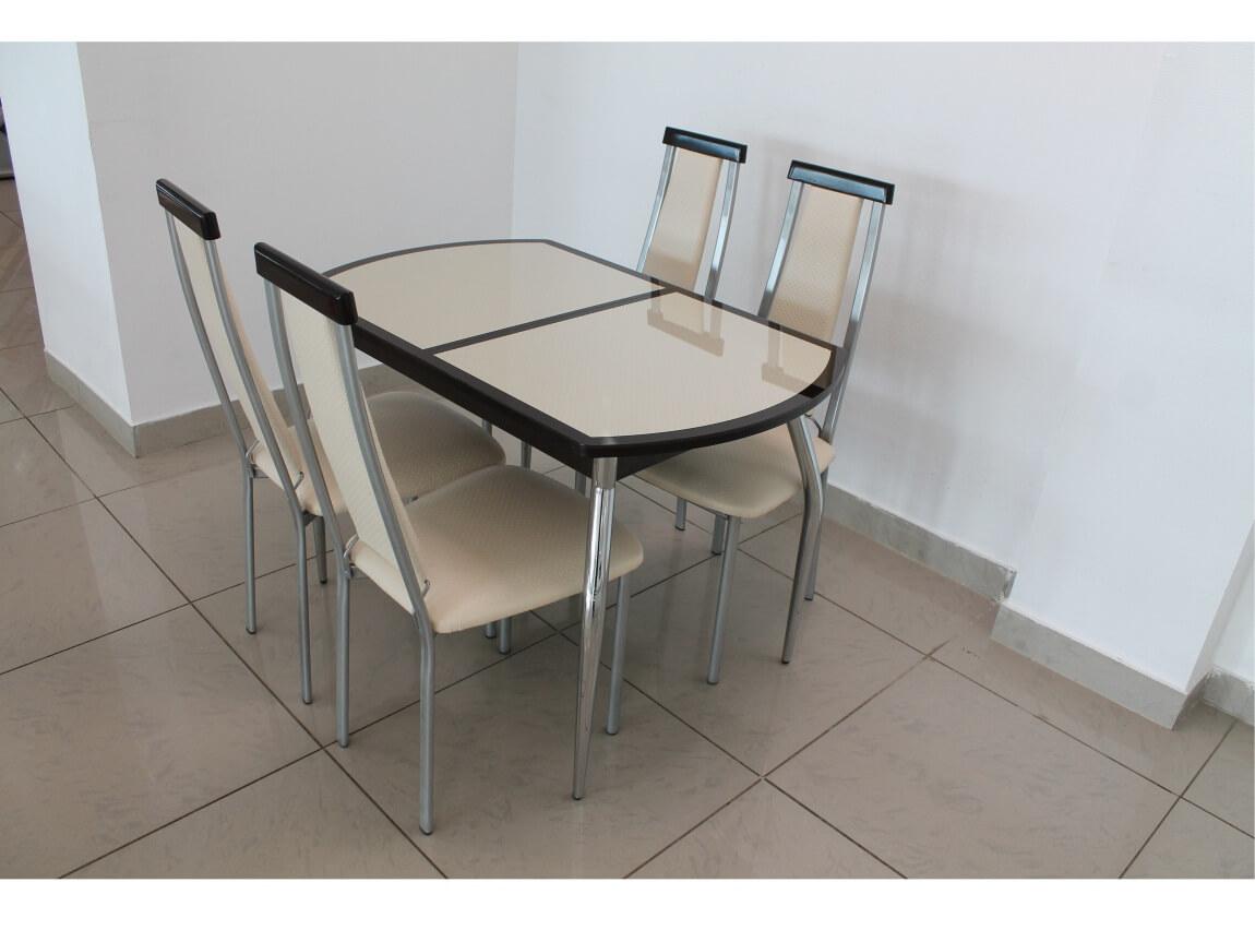 фото Раскладной стол кожа под стеклом Люкс