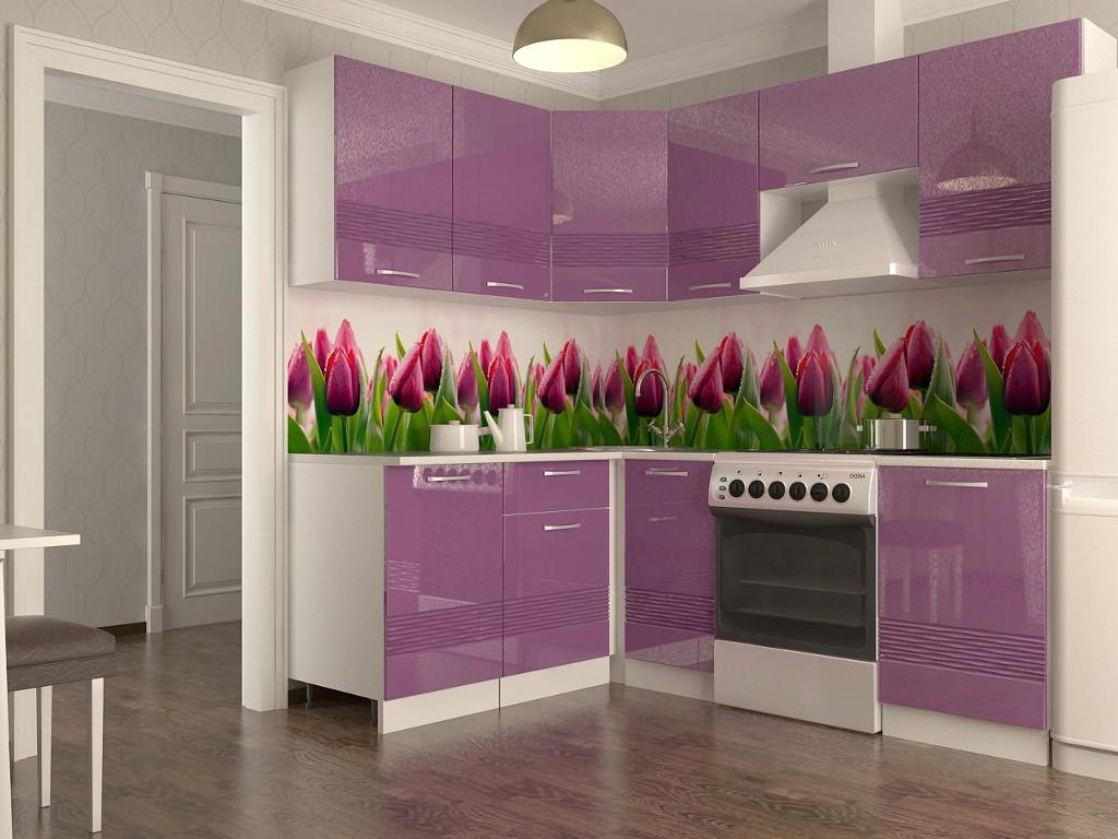 фото Кухонный гарнитур Волна фиолетовый металлик 2100х1600