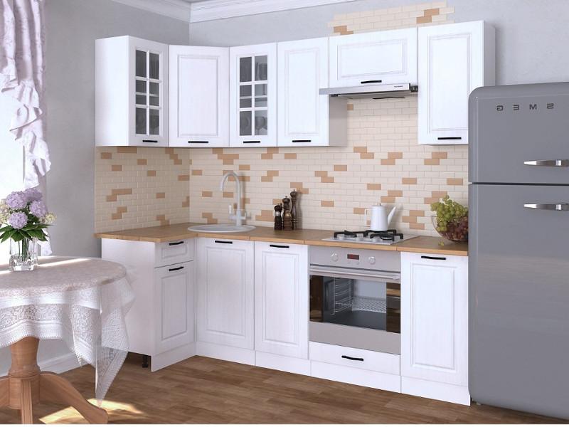фото Кухонный гарнитур угловой Белый вегас 2400х1000