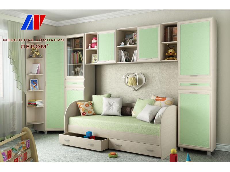 фото Детская Ксюша Дуб Беленый с зелеными вставками