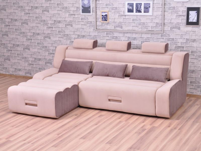 фото Угловой диван Медео с оттоманкой Elva mocca-Elva vision