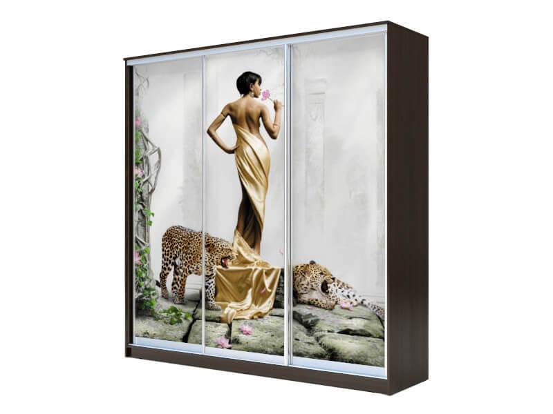 фото Шкаф-купе Хит 3-х дверный Девушка с леопардом